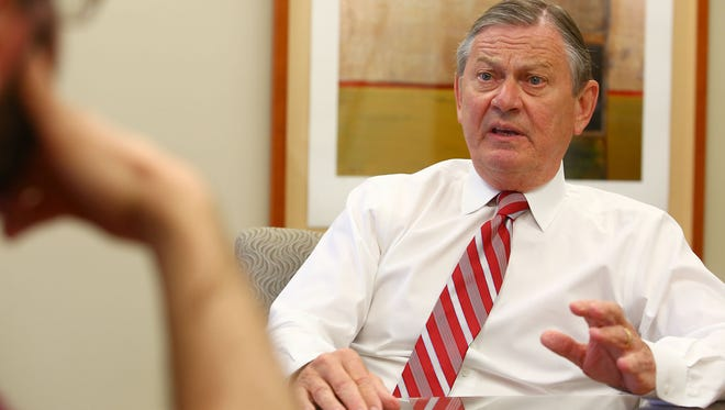 Eisenhower Medical Center CEO Aubrey Serfling speaks to The Desert Sun at his office on May 16, 2016.