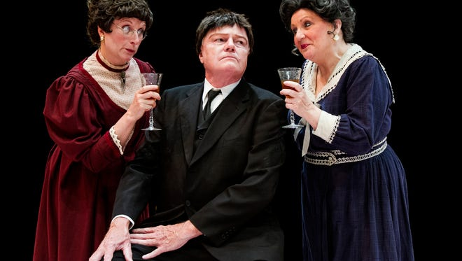 """Janet Essenpreis as Martha Brewster, David Myers as Jonathan Brewster, and Debbie King-Raque as Abby Brewster in Derby Dinner Playhouse's production of """"Arsenic & Old Lace."""""""