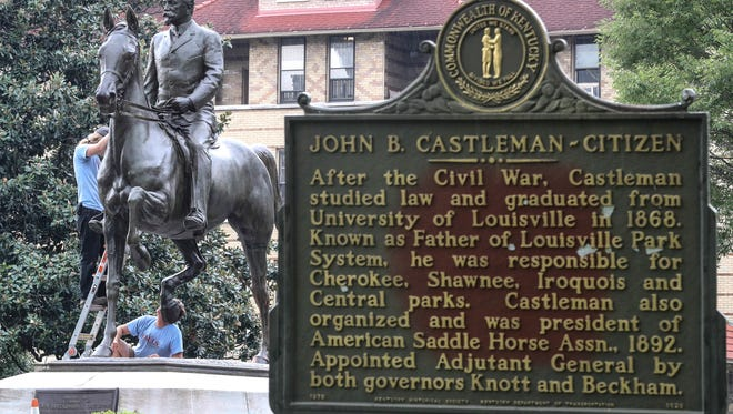 A crew from the Falls Art Foundry began work to remove paint from the John B. Castleman statue in the Highlands.  The work is expected to take about a week.August 28, 2017