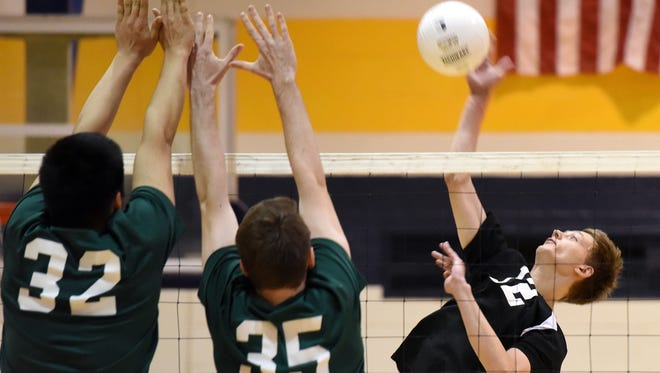Bergen County boys volleyball semifinalists Bergen Tech (in black) and Ramapo (in green) both won their respective divisions in the Big North Conference this spring.