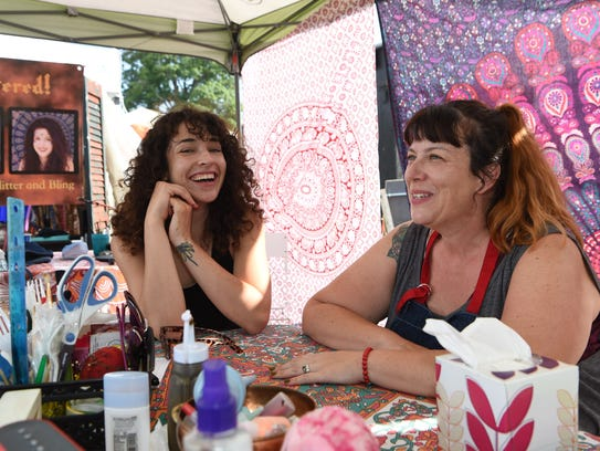 Amy Barresi, right, artist and owner of Tipsy Turtle