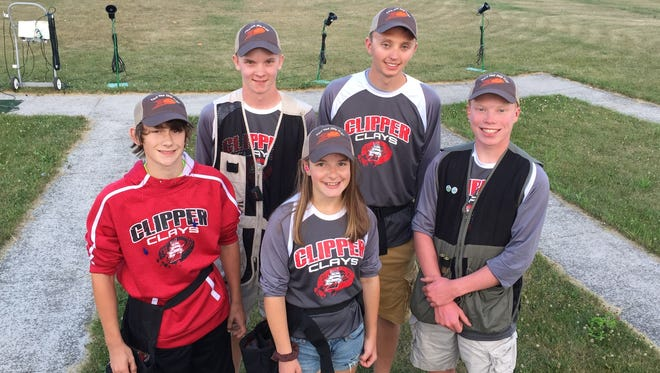 Some members of the Sturgeon Bay Clipper Clays shooting team, from left, Bruce Weber, Mason Propsom, Maddie Allen, Jack Richard and Carter Henry.