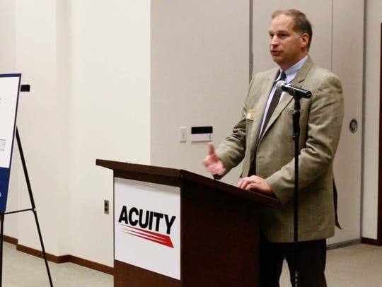 Lakeland College President Daniel Eck speaks during