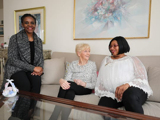 Joanne Taylor, left, the CEO/owner of Senior Helpers Westchester, chats with client Edith DeFilippo and caregiver Anna Knowles at DeFilippo's apartment in Bronxville, March 14, 2018.