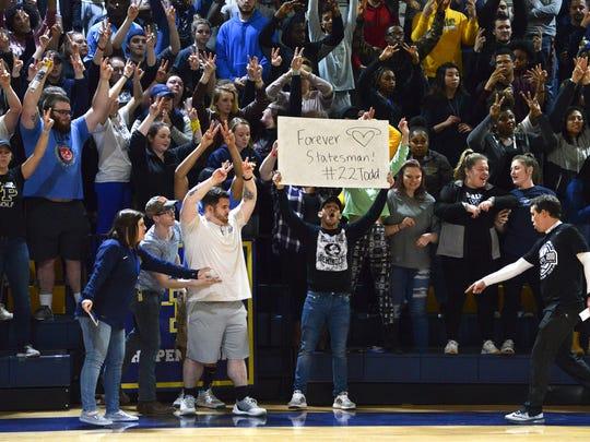 Fans at William Penn University cheer Friday night