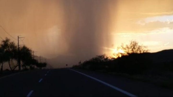 Rain falls in this photo taken near Ahwatukee Monday,