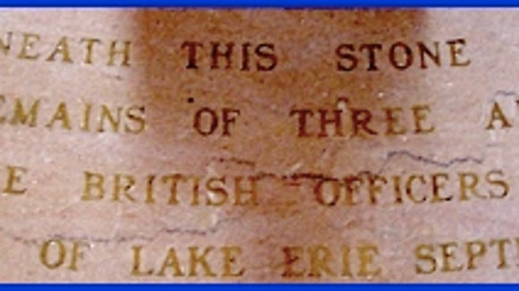 Marker in Floor under Rotunda of Perry's Victory and International Peace Memorial (American officers were John Brooks, Henry Laub and John Clark, while the British officers were Robert Finnis, John Garland and James Garden)