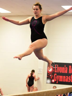 Alysha Burd is pictured competing during a meet earlier this season.