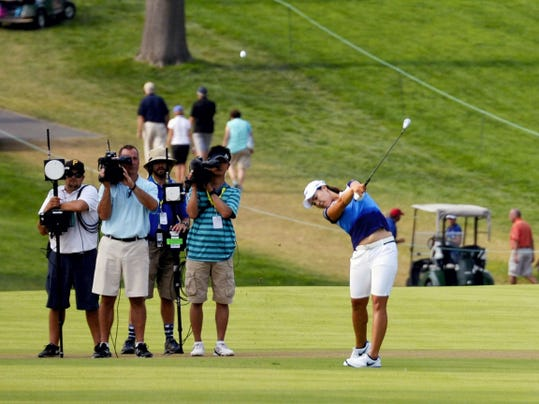 In Gee Chun hits a drive on the 18th fairway during Sunday's final round of the U.S. Women's Open at Lancaster Country Club. Chun earned a one-stroke victory to win her first tournament on U.S. soil this season. She posted three straight birdies to complete a comeback after entering Sunday's round four strokes behind the leader.