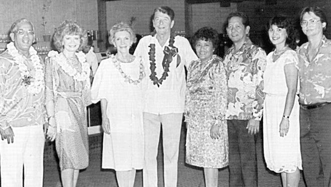 President Ronald and First Lady Nancy Reagan overnight in Guam on their trip to China. From left: Governor Ricardo and First Lady Madeleine Bordallo, First Lady Nancy and President Ronald Reagan, Lupe Reyes, Lt. Governor Eddie Reyes, Faye Carbullido and Philip Carbullido.