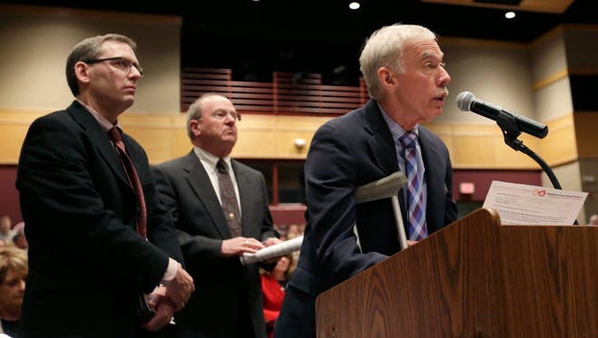 Appleton Area School District administrators, including (from left) Supt. Lee Allinger, Chief Financial Officer Don Hietpas and Board of Education member Jim Bowman, spoke during the Wednesday, March 18, 2015 Joint Finance Committee public hearing at Brillion High School.