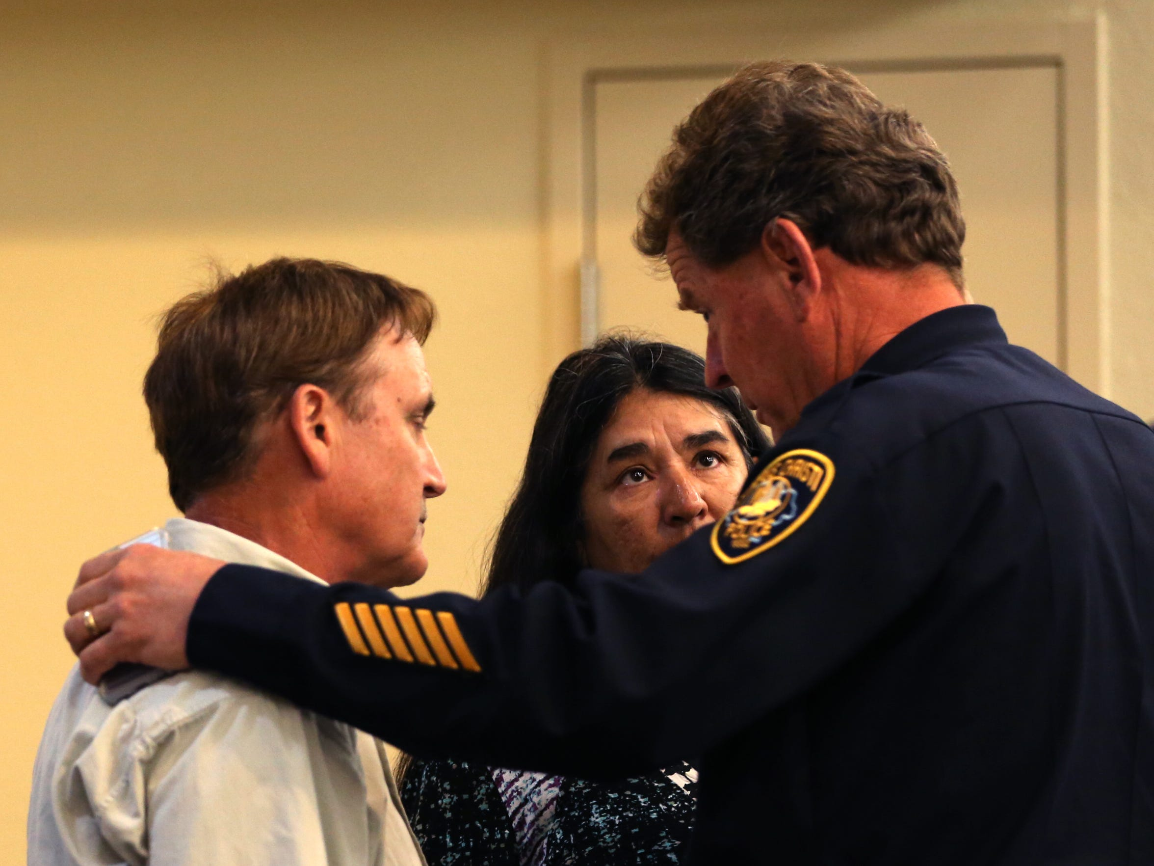 Gregg Fuqua (from left) and Sheila Fuqua talk with Lt. John Hooper following a press conference during which they made an appeal to the public on Tuesday, February 21, 2017, at the Corpus Christi Police Department that anyone who may have information about the January murder of their son, Andre Fuqua, come forward. Andre Fuqua, 25, was found inside a  black 2016 Subaru Crosstek on its side with gunshot wounds and died the next day at Christus Spohn Hospital Memorial, police said.