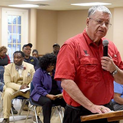Ron Turner speaks to the Opelousas Board of Aldermen
