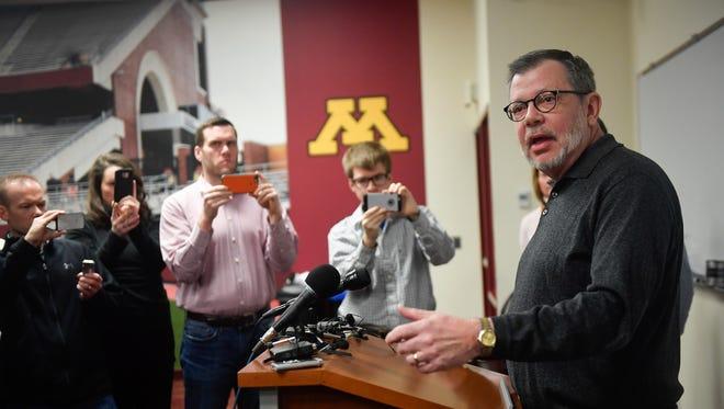 University of Minnesota President Eric Kaler speaks to members of the media Saturday.