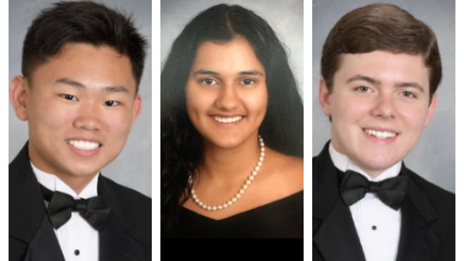 Three Marion County students attended every day of school throughout their 13 years of school. From left to right, Kevin Chang and Leela Sharma, both from Forest High School, and William Turner III, from North Marion High School. [Submitted photos]2020