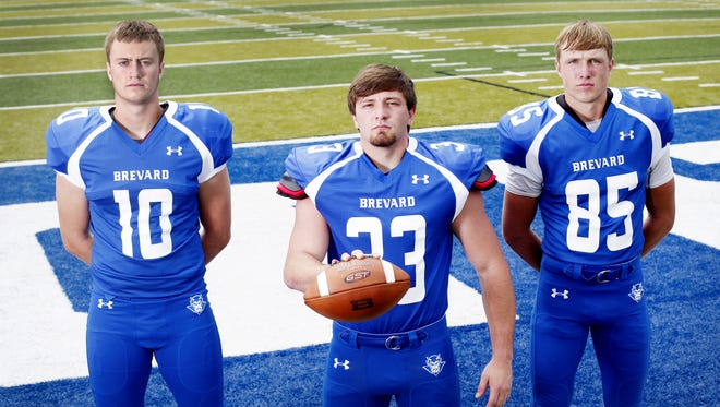 From left to right, Brevard's Tanner Ellenberger, Tanner Pettit and Nick Cabe.