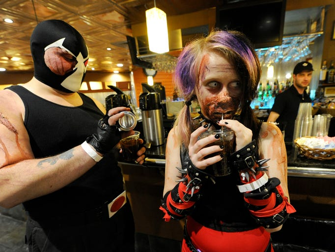 Tiffany Beaverson, dressed as zombie Harley Quinn,