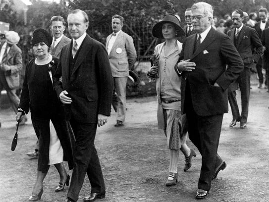 U.S. President Calvin Coolidge, second from left, and