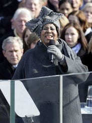 Aretha Franklin performs during the inauguration of