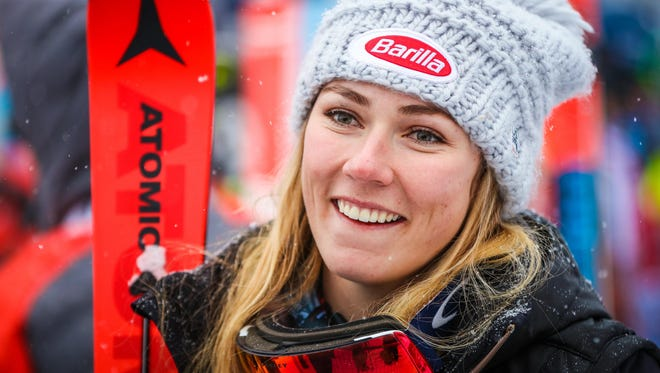 Mikaela Shiffrin of the United States interviews in the finish area after her run during the women's downhill in the 2017 FIS alpine skiing World Cup at Lake Louise Ski Resort.