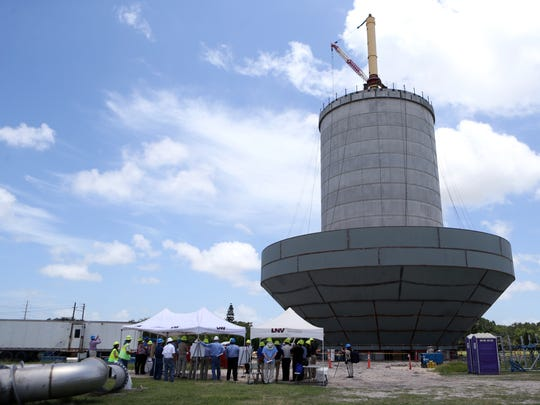 A public tour of the city's newest elevated water storage tank at Holly Road near Everhart Road was given Thursday, June 15, 2017. The city has five tanks and of these, four have reached the end of their service life. Two new tanks are in the process of being constructed and will be completed in mid-2018. The other two old tanks are scheduled for replacement.