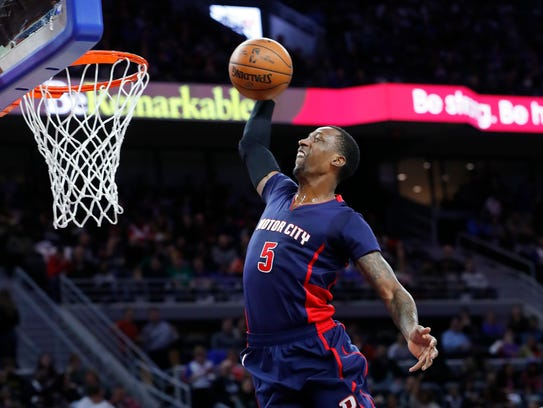 Pistons guard Kentavious Caldwell-Pope dunks against