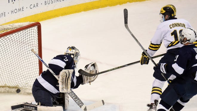 Kyle Connor scores against Penn State in the second period Friday.