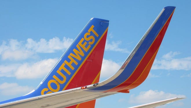 An extension on the end of the wing of a Southwest Airlines 737 is shown in an undated photo provided by the airline. Southwest Airlines. The extension called a winglet is designed to reduce drag and thereby lower fuel consumption.