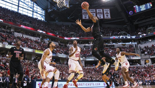 Louisville's Donovan Mitchell had 25 points against Indiana 77-62 Saturday afternoon. Coach Rick Pitino said Mitchell provided a big lift.