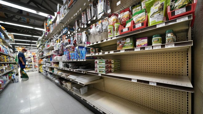 Shelves that are usually stocked with Mason jars and lids in the canning supply section are mostly empty at the Drillin True Value hardware store on Sept. 4 in South Portland, Maine. During this ongoing coronavirus pandemic many retailers have been frustrated by the scarce supply of jars and lids used for canning vegetables.