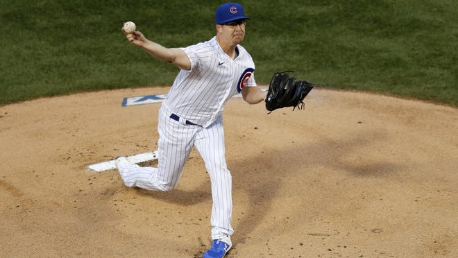 Chicago Cubs starting pitcher Alec Mills delivers during the first inning of a baseball game against the Kansas City Royals Monday in Chicago.