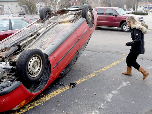 car flipped