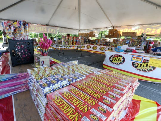 Fireworks for sale at the TNT Fireworks tent on Tucker