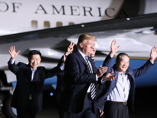 *** BESTPIX *** President Trump Greets The Three Americans Freed From North Korea Upon Their Arrival Back In The U.S.