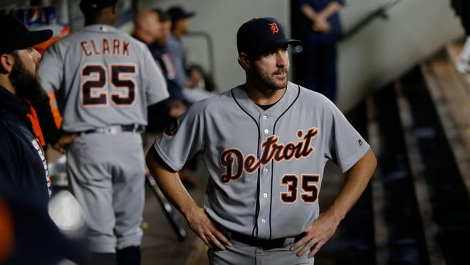 Justin Verlander stands in the dugout after he was pulled in the sixth inning against the Mariners, June 21, 2017 in Seattle.