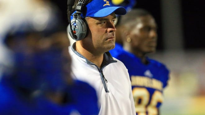 GABE HERNANDEZ/CALLER-TIMES Texas A&M-Kingsville coach Daren Wilkinson shouldered the blame after the Javelinas lost to Angelo State 22-21, dropping their third consecutive Lone Star Conference game in heartbreaking fashion.