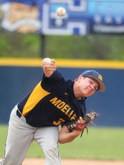 Then Moeller junior Dade Hensley pitched to CovCath during Moeller's 6-5 win in 11 innings May 4, 2018, in Park Hills KY.