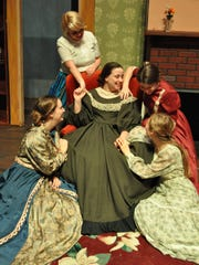 """Melody Mutch (middle), Mackenzie Trotter (top left), Rose Smoak (bottom left), Anna-Kate Christian (bottom right) and Rebekah Unsworth (top right) play the March women in Louisiana College's performance of """"Little Women."""""""