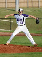 Trinity Christian Academy's Payton Bankston winds back for a pitch during Tuesday night's game against Adamsville.