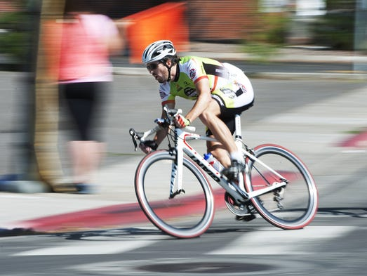Competitors in the Tour de Nez Category 4/5 race on Saturday morning, August 9, 2014 drew in racers from the ages of 18-54 in downtown Reno.