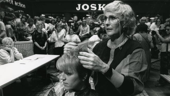 """Sunrise Mall, which was recently sold to a Fort Worth developers, played the backdrop for scenes in the 1985 movie """"The Legend of Billie Jean."""" DJ Bonnie Stacy was one of the first to get her hair cut by Hollywood stylist Lynn Del Kail at the mall for the production on Oct. 16, 1984. Extras in the background waited to get their hair cut."""