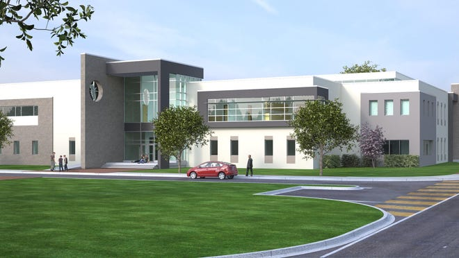 A rendering shows what the new Health Sciences Institute will look like once completed.