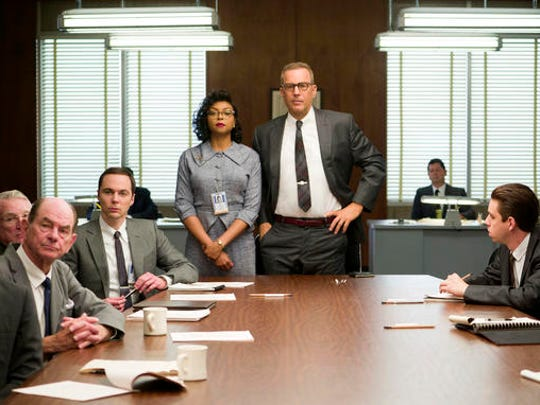 "This image released by Twentieth Century Fox shows Taraji P. Henson, standing left, and Kevin Costner, standing right, in a scene from, ""Hidden Figures."" The film is nominated for an Oscar for best picture. The 89th Academy Awards will take place on Feb. 26."