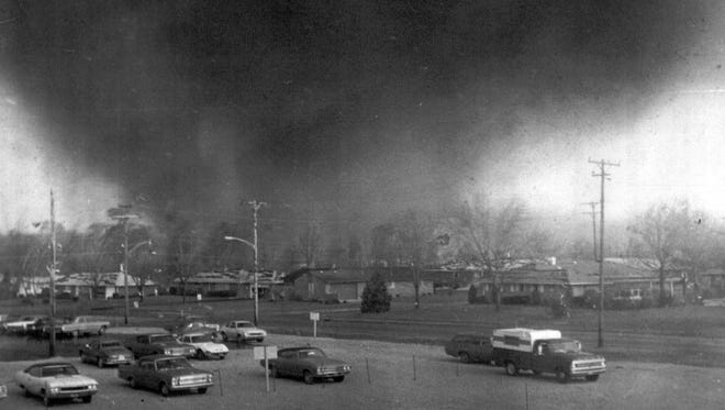 A tornado funnel moves through the southeast Pine Crest Garden section of Xenia, Ohio, April 5, 1974. The tornado caused millions of dollars in damage and killed at least 29 persons and injuring scores of others.