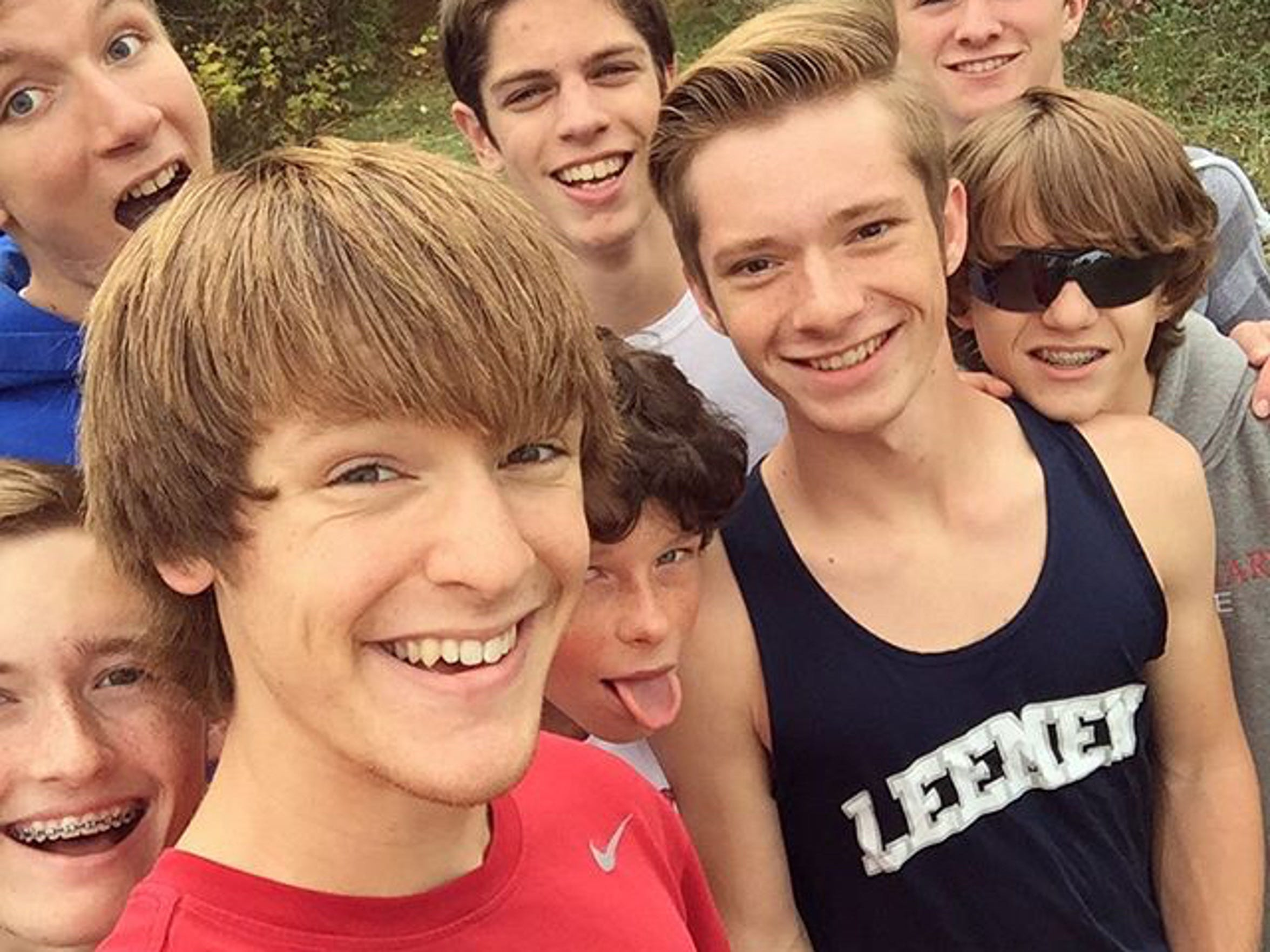 Lee High track selfie. Conference meet, 2015 season, cross country.