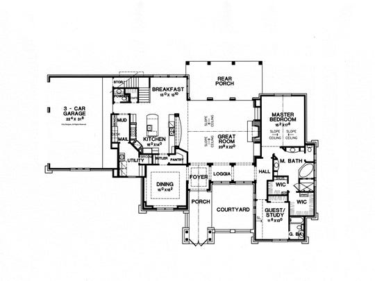 Located on the first floor, the master suite and a guest bedroom are easy to reach.