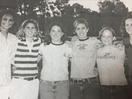From left to right are the Bravette softball players who won awards at their banquet in June 2001, Terra Caudill, Erin Gorman, Kristy Jenkins, Tiffany Winn, Daphne Jones, and Katya Tackett.