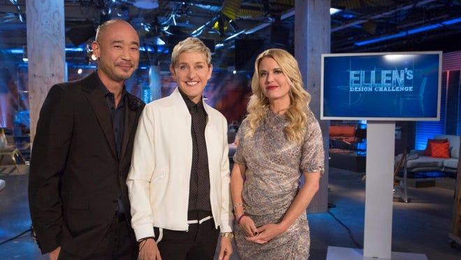 Ellen Degeneres (center) with judges Cliff Fong (l) and Christian Lemieux (R)