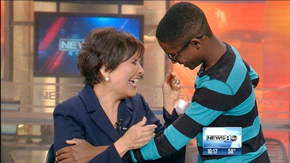 Ke'onte Cook surprised WFAA anchor Gloria Campos on March 6 to thank her for the Wednesday's Child broadcast that led to his adoptive family.
