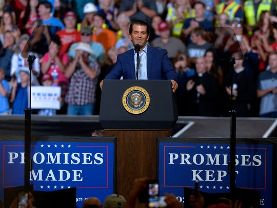Donald Trump Jr. speaks before President Donald Trump during Trump's Great Falls campaign rally in the Four Seasons Arena on  July 5.